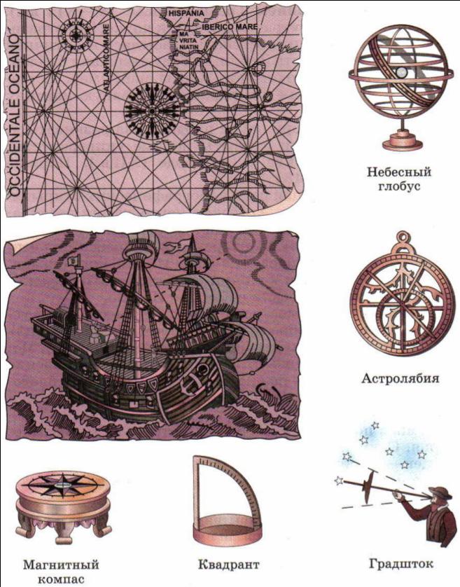 Старинная мореходная карта и навигационные приборы.